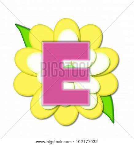Alphabet Flower Pin Yellow E