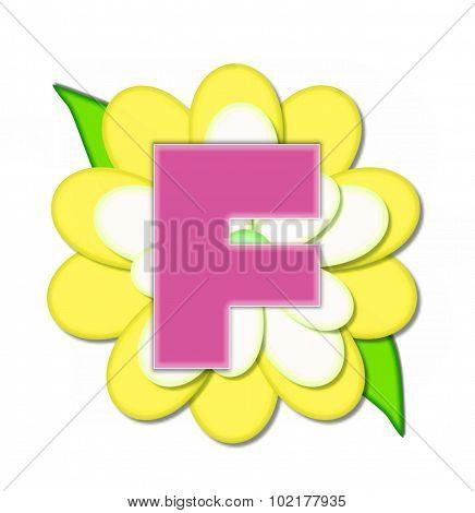 Alphabet Flower Pin Yellow F