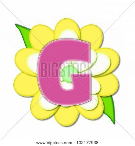 Alphabet Flower Pin Yellow G