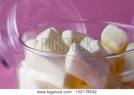 Yellow Marshmallow In Glass Jar