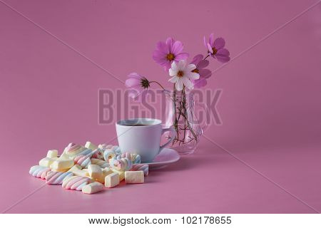Tea Cup With Colored Marshmallow