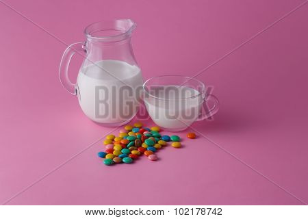 Milk With Dropped Out Sweet Dragees