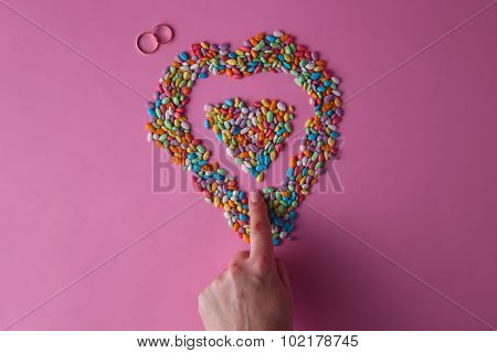 Colored Heart From Sweet Dragees