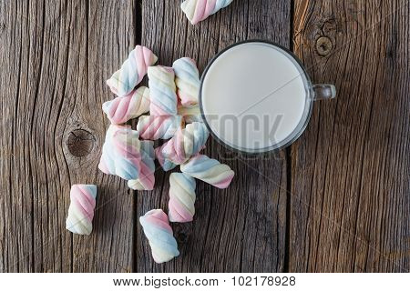 Twisted Colored Marshmallow With Milk