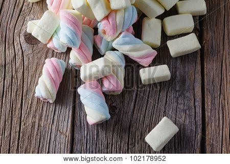 Colored Marshmallow On Wooden Table