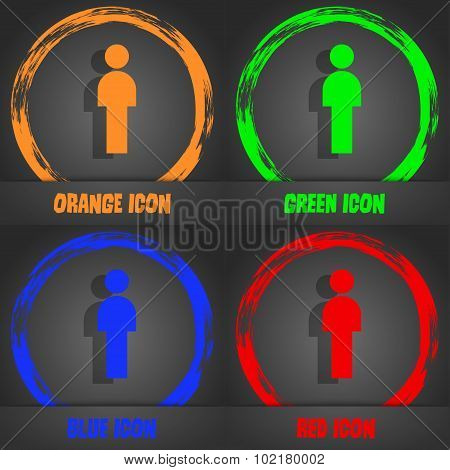 Human Sign Icon. Man Person Symbol. Male Toilet. Fashionable Modern Style. In The Orange, Green, Blu