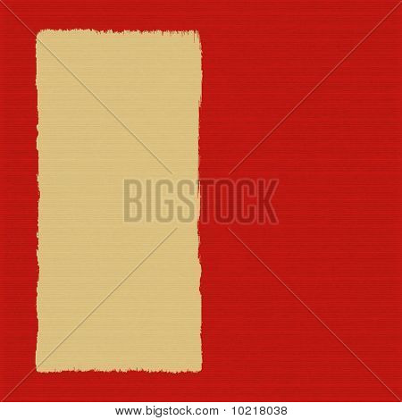 Box On Red Ribbed Handmade Paper Background