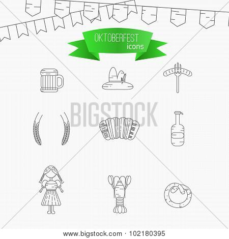 Vector Line Oktoberfest Icons. Modern Thin Line Icons for Web and Mobile. Fest Alcohol Beer Icons fo