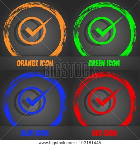 Check Mark Sign Icon. Checkbox Button. Fashionable Modern Style. In The Orange, Green, Blue, Red Des