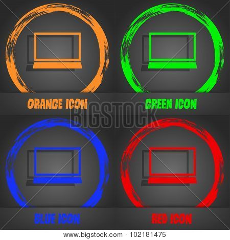 Laptop Sign Icon. Notebook Pc Symbol. Fashionable Modern Style. In The Orange, Green, Blue, Red Desi