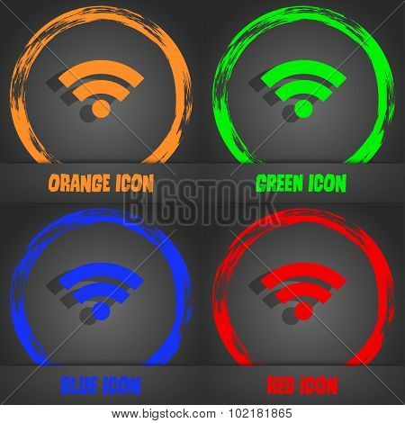 Wifi Sign. Wi-fi Symbol. Wireless Network Icon. Wifi Zone. Fashionable Modern Style. In The Orange,