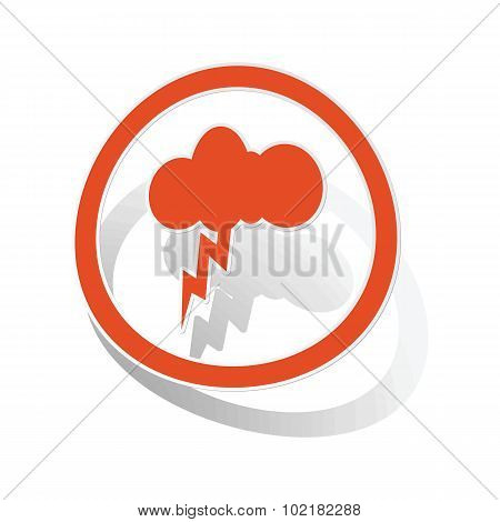 Thunderbolt sign sticker, orange