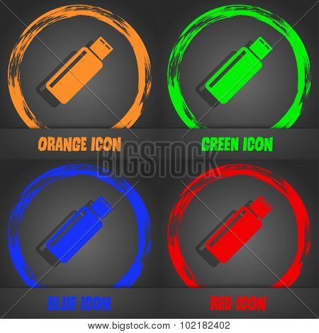 Usb Sign Icon. Flash Drive Stick Symbol. Fashionable Modern Style. In The Orange, Green, Blue, Red D