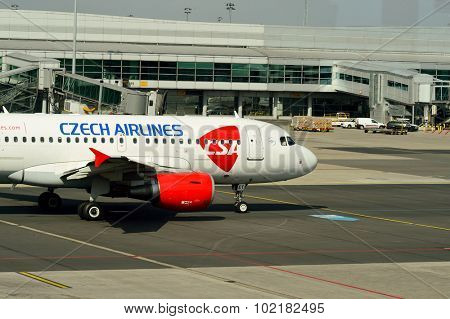 PRAGUE, CZECH REPUBLIC - AUGUST 04, 2015: airport of Prague. International airport of Prague is major airport of Czech Republic