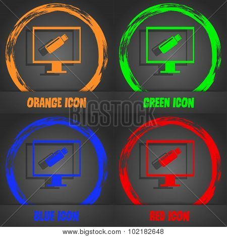 Usb Flash Drive And Monitor Sign Icon. Video Game Symbol. Fashionable Modern Style. In The Orange, G