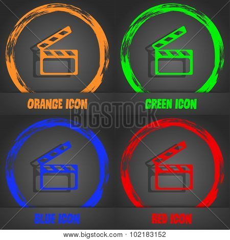 Cinema Clapper  Sign Icon. Video Camera Symbol. Fashionable Modern Style. In The Orange, Green, Blue