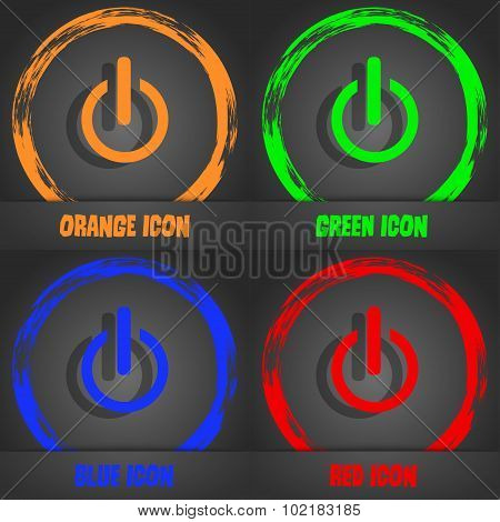Power Sign Icon. Switch Symbol. Fashionable Modern Style. In The Orange, Green, Blue, Red Design. Ve