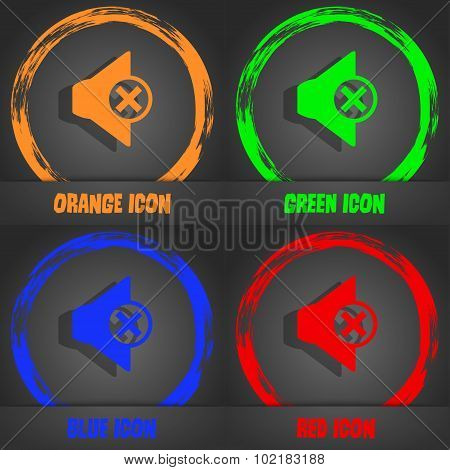 Mute Speaker Sign Icon. Sound Symbol. Fashionable Modern Style. In The Orange, Green, Blue, Red Desi