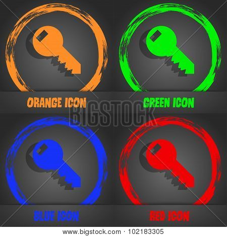 Key Sign Icon. Unlock Tool Symbol.. Fashionable Modern Style. In The Orange, Green, Blue, Red Design