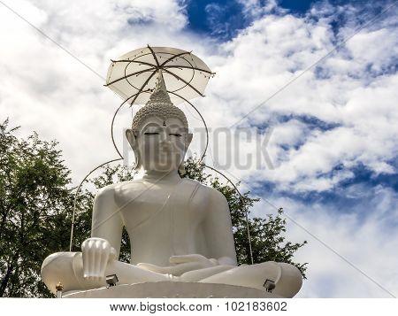 Big White Buddha Statue In Thailand Temple
