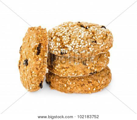 Oatmeal Cookies With Raisins And Sesame Seeds