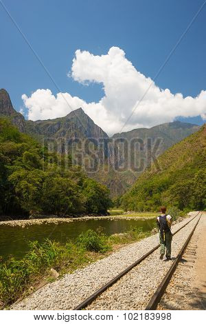 Walking On Railway Track To Machu Picchu, Peru