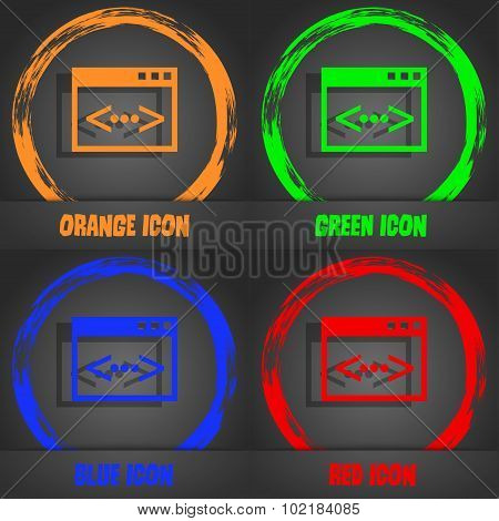 Code Sign Icon. Programmer Symbol. Fashionable Modern Style. In The Orange, Green, Blue, Red Design.