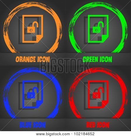 File Unlocked Icon Sign. Fashionable Modern Style. In The Orange, Green, Blue, Red Design. Vector