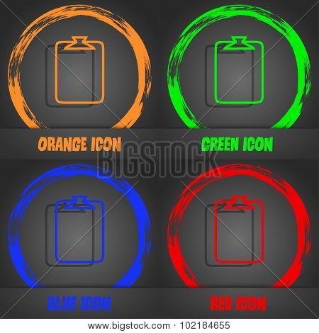 File Annex Icon. Paper Clip Symbol. Attach Sign. Fashionable Modern Style. In The Orange, Green, Blu
