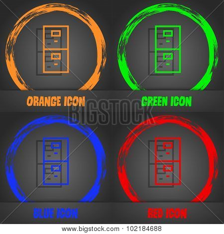 Safe Sign Icon. Deposit Lock Symbol. Fashionable Modern Style. In The Orange, Green, Blue, Red Desig