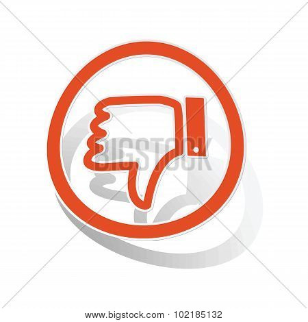 Dislike sign sticker, orange