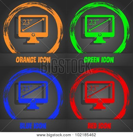 Diagonal Of The Monitor 23 Inches Icon Sign. Fashionable Modern Style. In The Orange, Green, Blue, R