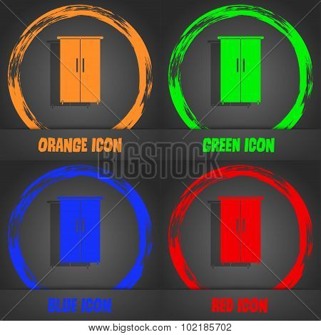 Cupboard Icon Sign. Fashionable Modern Style. In The Orange, Green, Blue, Red Design. Vector