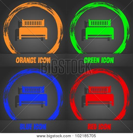 Hotel, Bed Icon Sign. Fashionable Modern Style. In The Orange, Green, Blue, Red Design. Vector