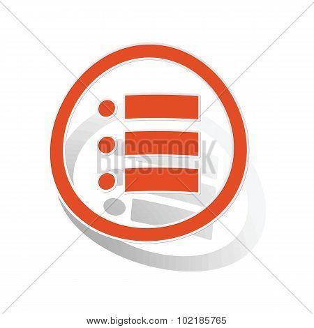 Dotted list sign sticker, orange