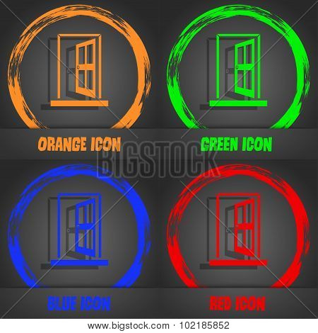 Door, Enter Or Exit Icon Sign. Fashionable Modern Style. In The Orange, Green, Blue, Red Design. Vec
