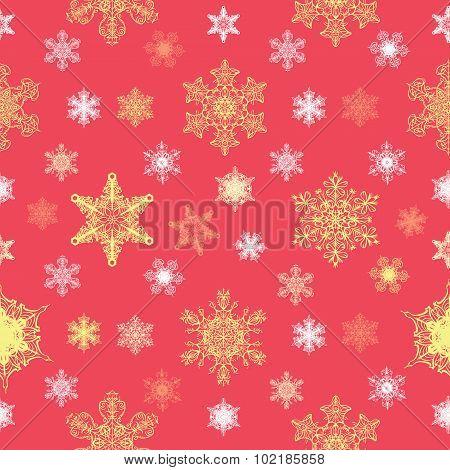 Vector Ornate Christmas Snowflakes Seamless Pattern