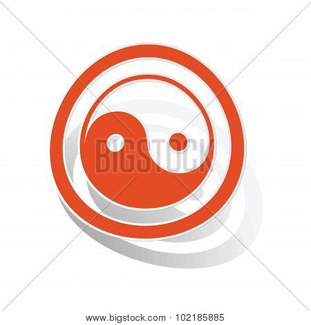 Ying yang sign sticker, orange