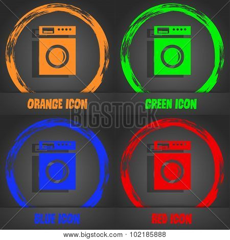 Washing Machine Icon Sign. Fashionable Modern Style. In The Orange, Green, Blue, Red Design. Vector