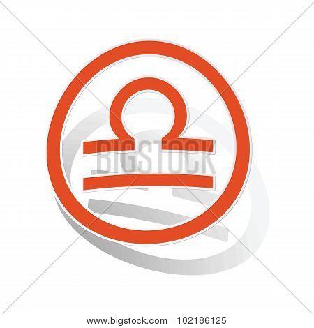 Libra sign sticker, orange