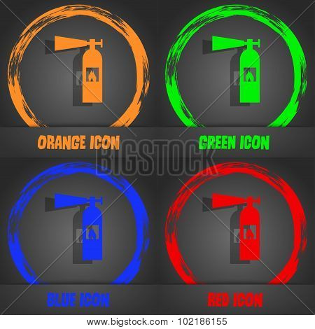 Fire Extinguisher Icon Sign. Fashionable Modern Style. In The Orange, Green, Blue, Red Design. Vecto