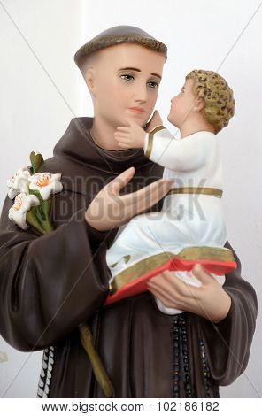 LIPIK, CROATIA - MAY 07: Saint Anthony of Padua holding baby Jesus, statue in the Church of Saint Francis of Assisi in Lipik, Croatia on May 07, 2015
