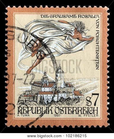 AUSTRIA - CIRCA 1997: a stamp printed in the Austria shows The Cruel Lady of Forchtenstein Castle, Burgenland, circa 1997