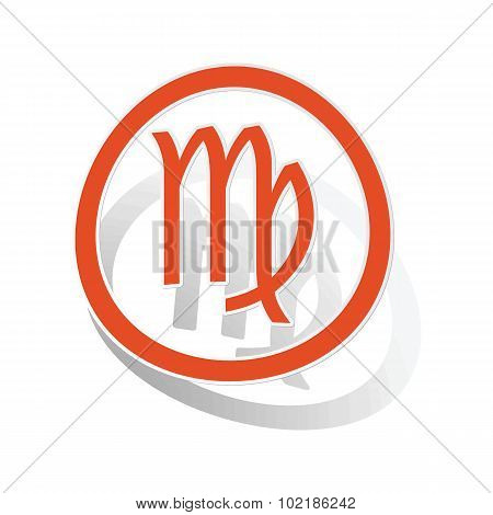 Virgo sign sticker, orange