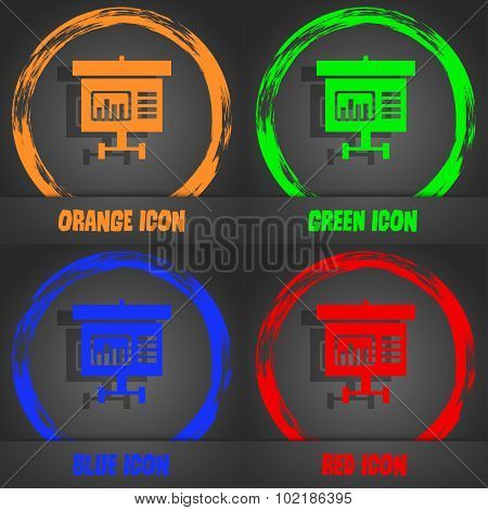 Graph Icon Sign. Fashionable Modern Style. In The Orange, Green, Blue, Red Design. Vector