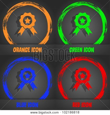 Award, Medal Of Honor Icon Sign. Fashionable Modern Style. In The Orange, Green, Blue, Red Design. V