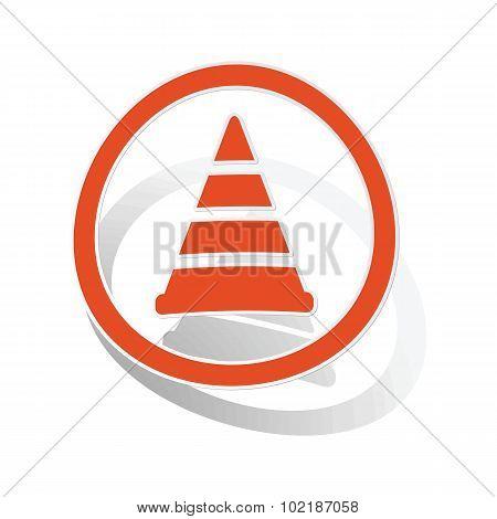 Traffic cone sign sticker, orange