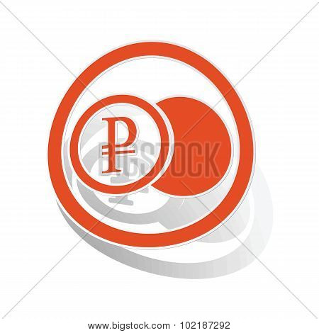 Rouble coin sign sticker, orange