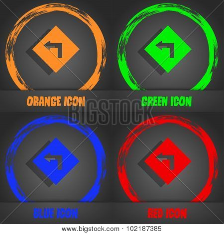 Road Sign Warning Of Dangerous Left Curve Icon Sign. Fashionable Modern Style. In The Orange, Green,
