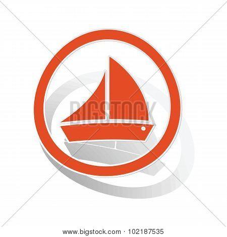 Sailing ship sign sticker, orange